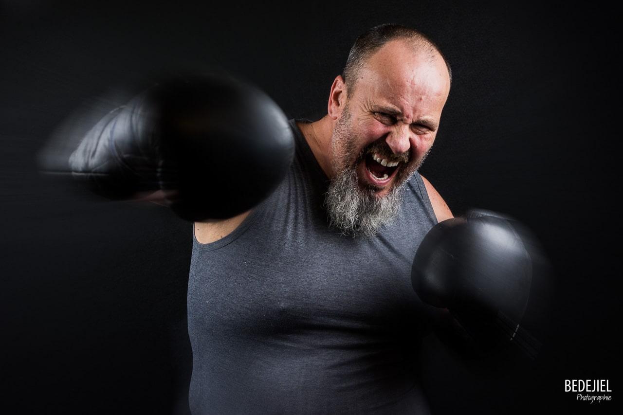 Boxeur en action